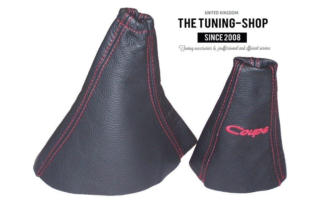 Funda de cuero negro con bordados rojos para palanca de cambios y freno de mano para Hyundai Coupe 1999-2001.