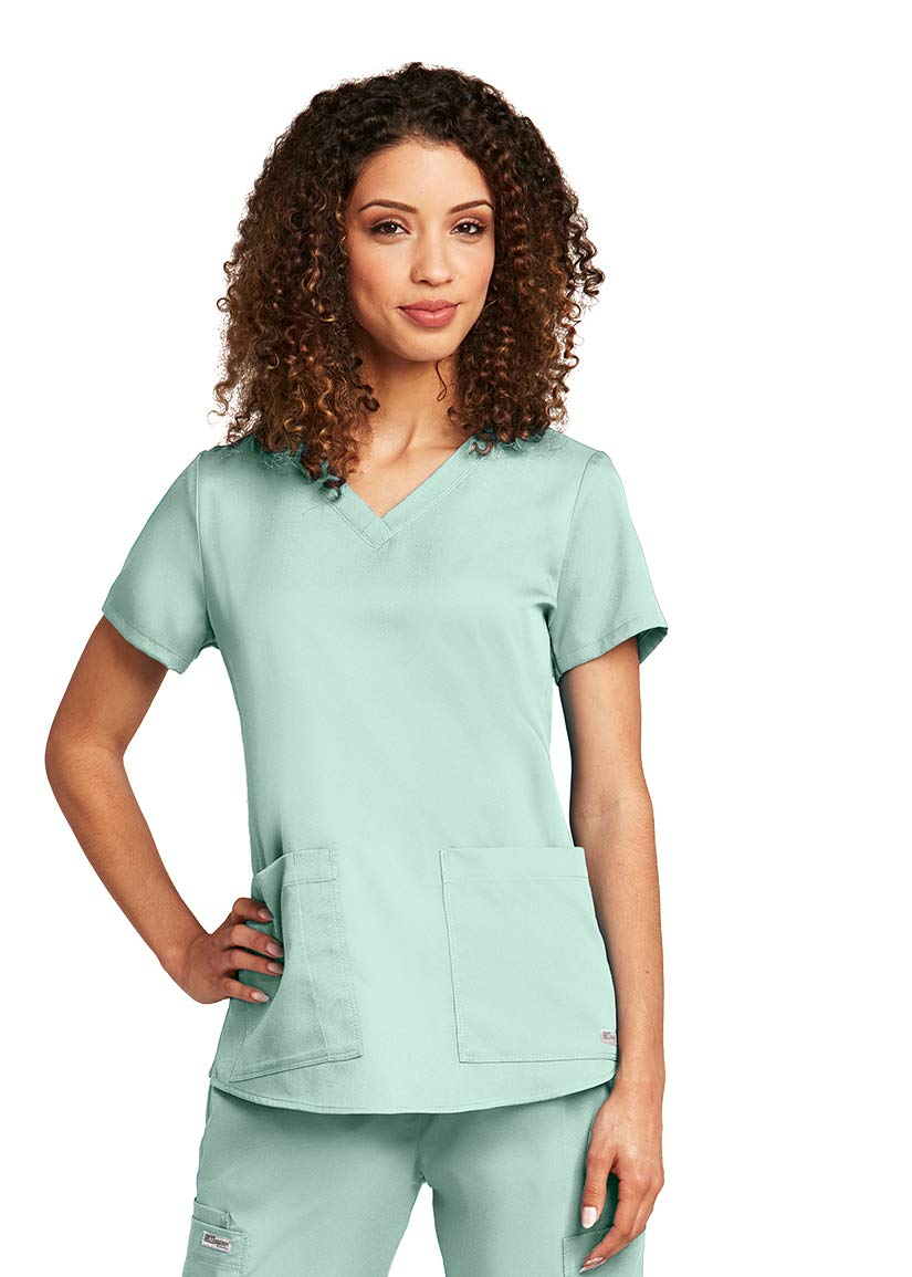 Grey's Anatomy Women's Two Pocket V-Neck Scrub Top with Shirring Back, Black, Medium by Barco