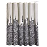Fabric Shower Curtain by LanMeng, Words of Places Across the World, Mildew Resistant Waterproof / Water-Repellent and Antibacterial, city art work, off white cream and black (72-by-78 inches, 1)