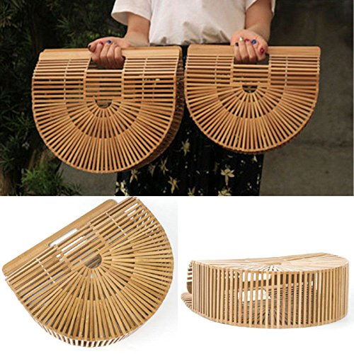 OneMoreT - Sac à main en bambou - Pour voyage, été - Pour femme L