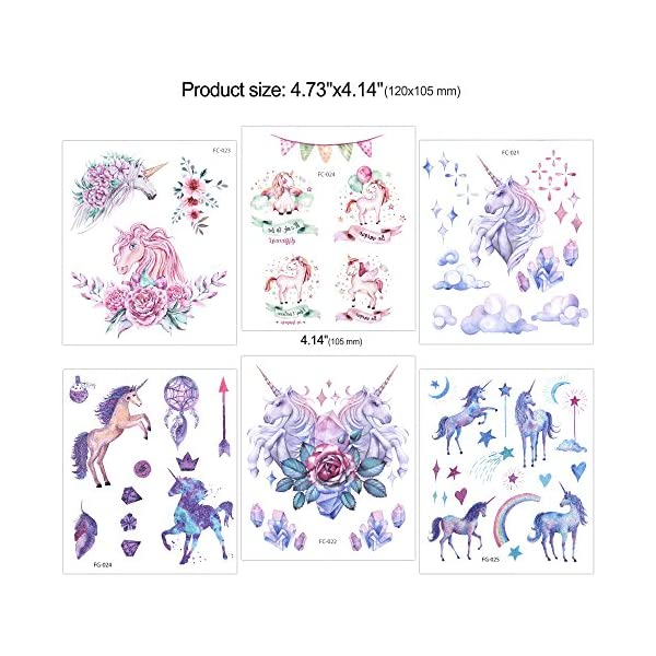 Konsait Unicorn Temporary Tattoos for Girls (130Assorted Glitter Tattoo), Rainbow Unicorn Party Supplies, Great Kids Birthday Party Bag Filler, Girls Party Favors Goody Bag Stuffers Carnival Rewards 6