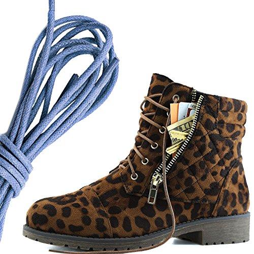 Dailyshoes Femmes Lace Militaire Boucle Boucle Bottes De Combat Cheville Haute Carte De Crédit Exclusive Poche, Royal Blue Léopard Sauvage