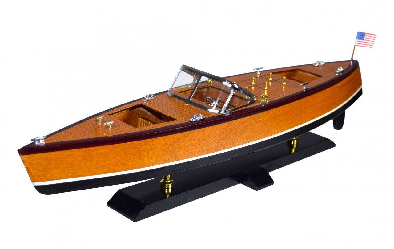 Élégante maquette de bateau en bois avec support - Bateau à moteur américain Navyline