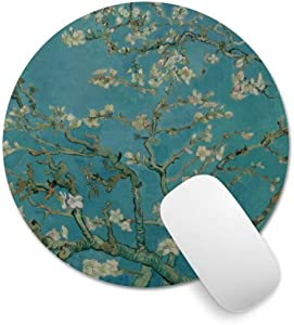 """Pricetail Mouse Pad, Pretty Mouse Pads with Design, Non-Slip Rubber Base Waterproof Office Mousepads, for PC Computers Laptop(Almond Blossoms, 7.9"""" x 7.9"""" x 0.1"""")"""