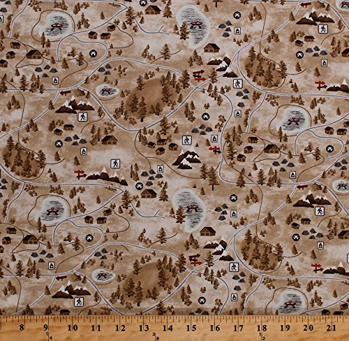 Tan Quilting Sewing Craft Fabric - Cotton Park Map Hiking Trails Camping Activities Cartography Symbols Mountains Trees Parks and Recreation Tan Cotton Fabric Print by the Yard (3923-33)