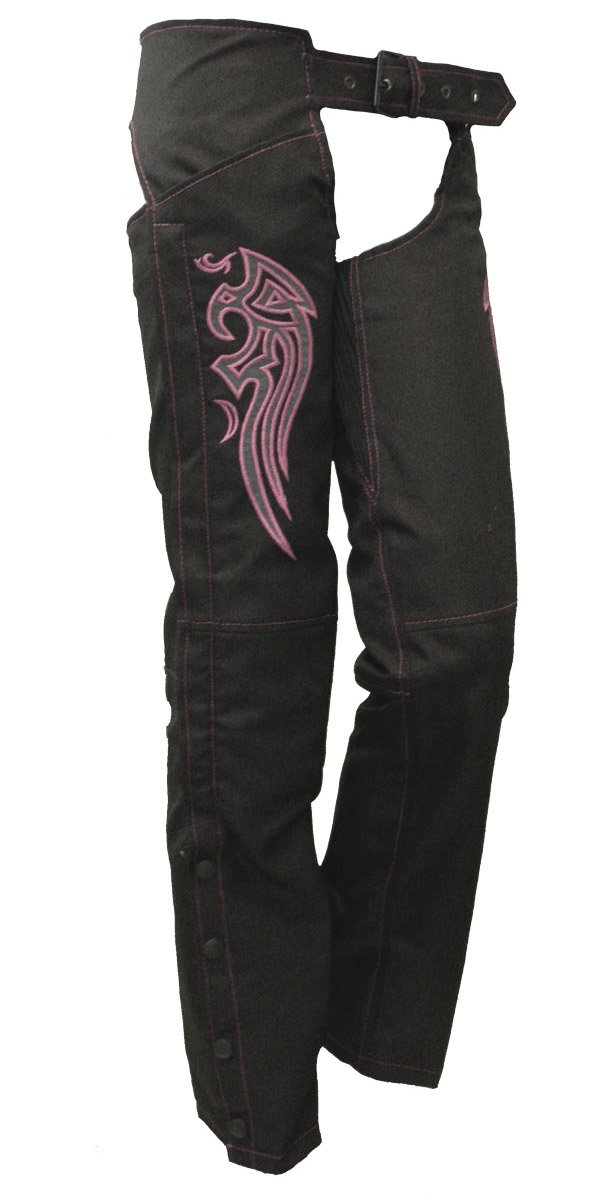 Ladies Textile Chaps w// Pink Embroidered Wings
