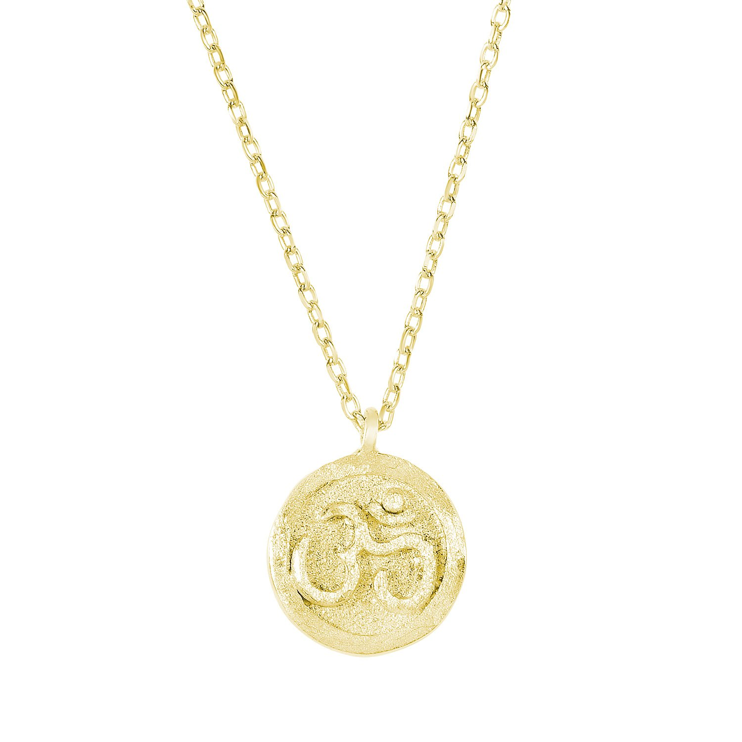 14k Yellow Gold Plated 925 Sterling Silver Matte Finish Textured OHM Om Aum Pendant Necklace,18''