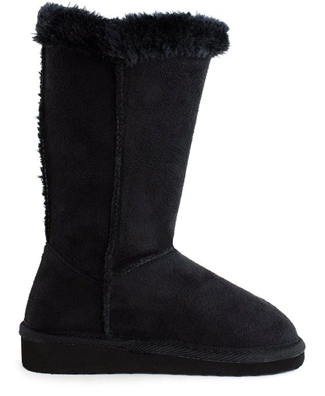 EyesOnStyle Girls Warm Tall Mid Calf 3 Buttons Faux Sheepskin Fur Kids Shoes Boots