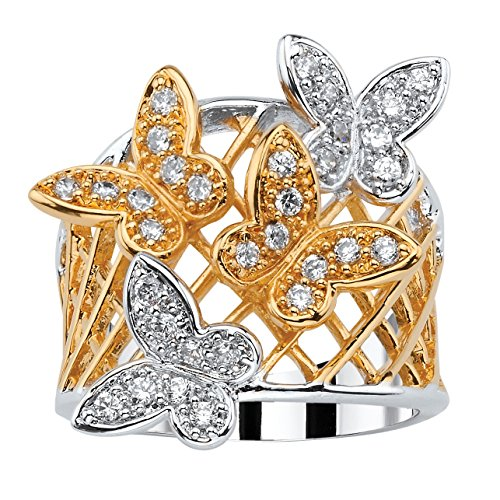 Pave White Cubic Zirconia 18k Gold-Plated Two-Tone Butterfly Latticework Ring Size 7