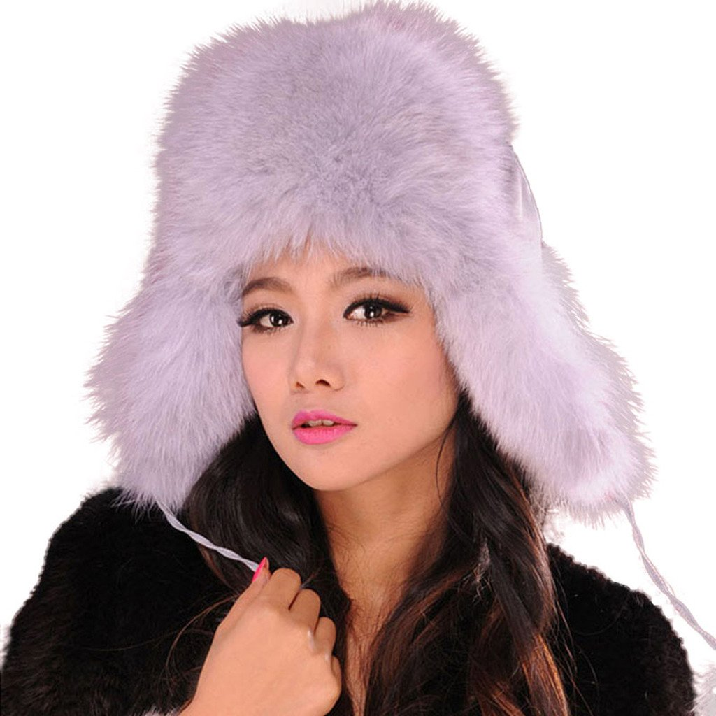 Fur Story Women's Trapper Hat with Real Fur Earmuffs Warm Winter Fur Hat 060101 Natural Blue