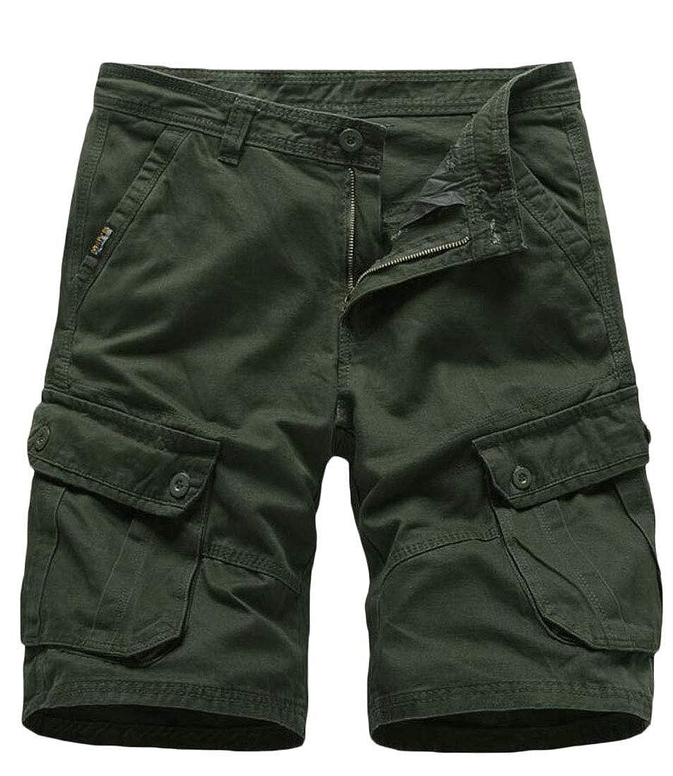 Gocgt Mens Loose Fit Twill Casual Pants Beach Shorts Multi-Pockets Outdoors Pants