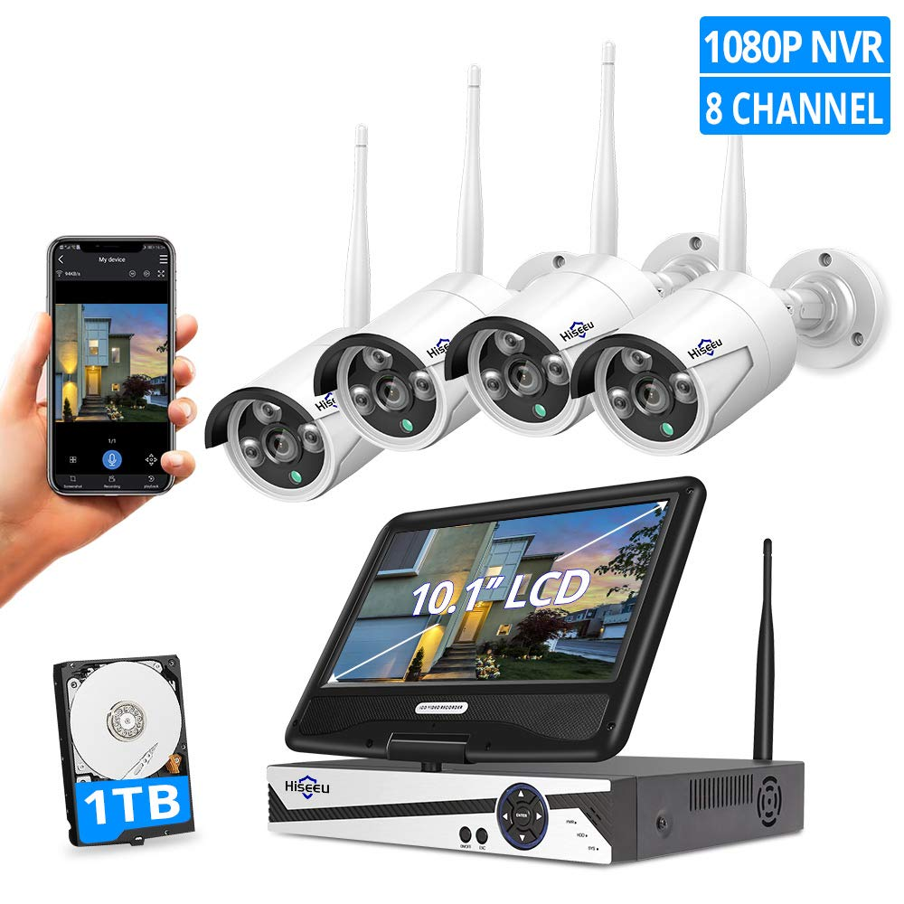 [8CH Expandable]All in one with 10.1'' Monitor Wireless Security Camera System,HisEEu 8ch Wireless Home Security Camera System,4pcs 1.3MP Indoor/Outdoor Security Cameras,Easy Remote View,1TB Hard Drive