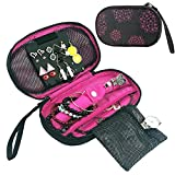 Jewelry Organizer Bag - DesignSter Portable Travel Jewelry Organizer Case Earring, Necklace Storage Pouch for Women (Red)