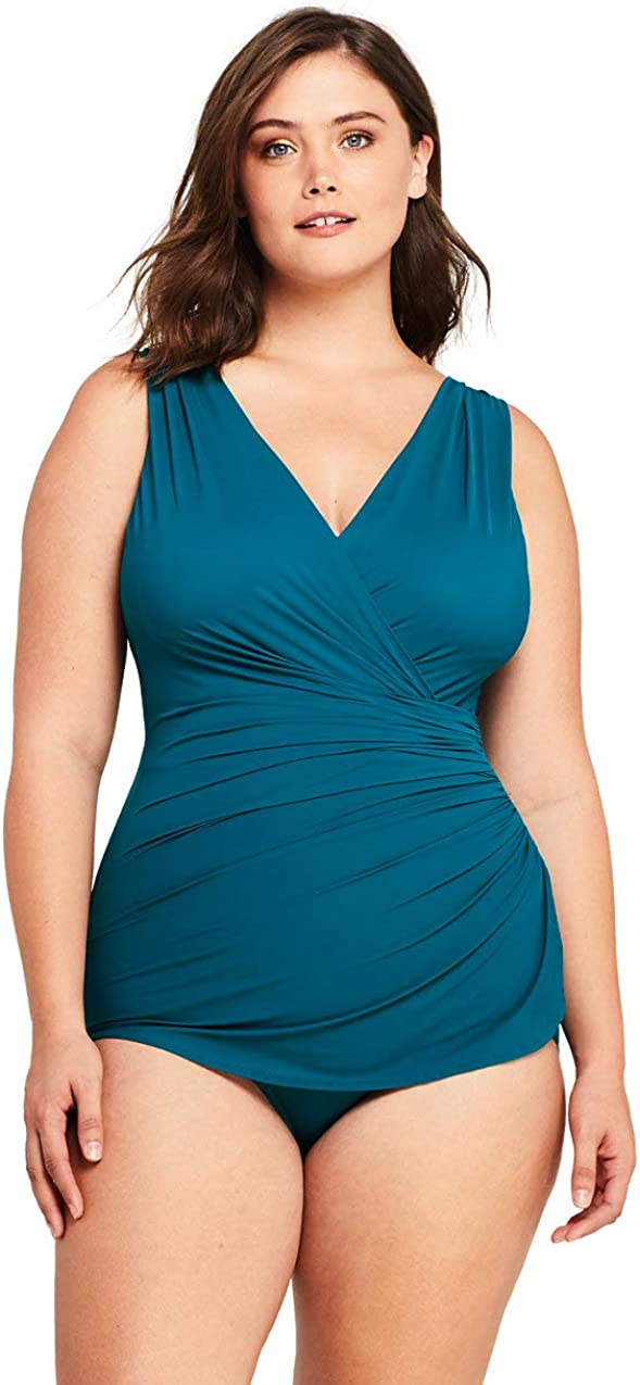 Lands End Womens Slender Surplice Wrap Tummy Control Chlorine Resistant Skirted One Piece Swimsuit