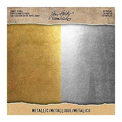 amazon com tim holtz timth 93586 kraft stock metallic paper stash