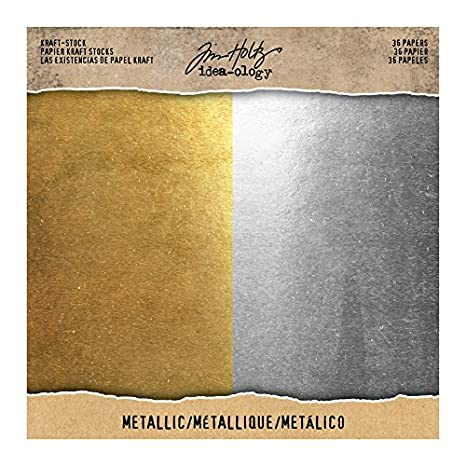 Gold and Silver Kraft Stock Metallic Paper Stash by Tim Holtz Idea-ology 36 Sheets 8 x 8 Inch Card Stock Sheets TIMTH.93586