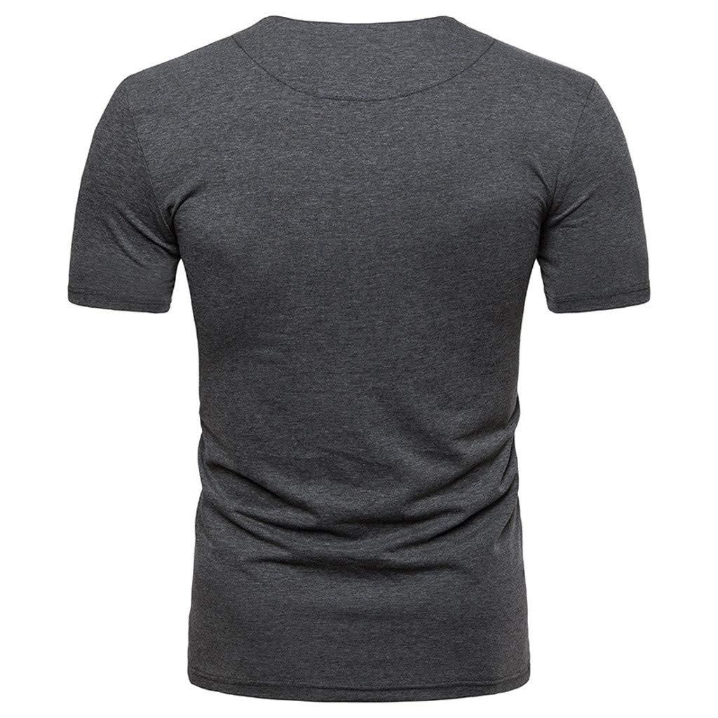 Topgee Mens Casual Slim Fit Short Sleeve Henley T-Shirt Lightweight Basic Tee