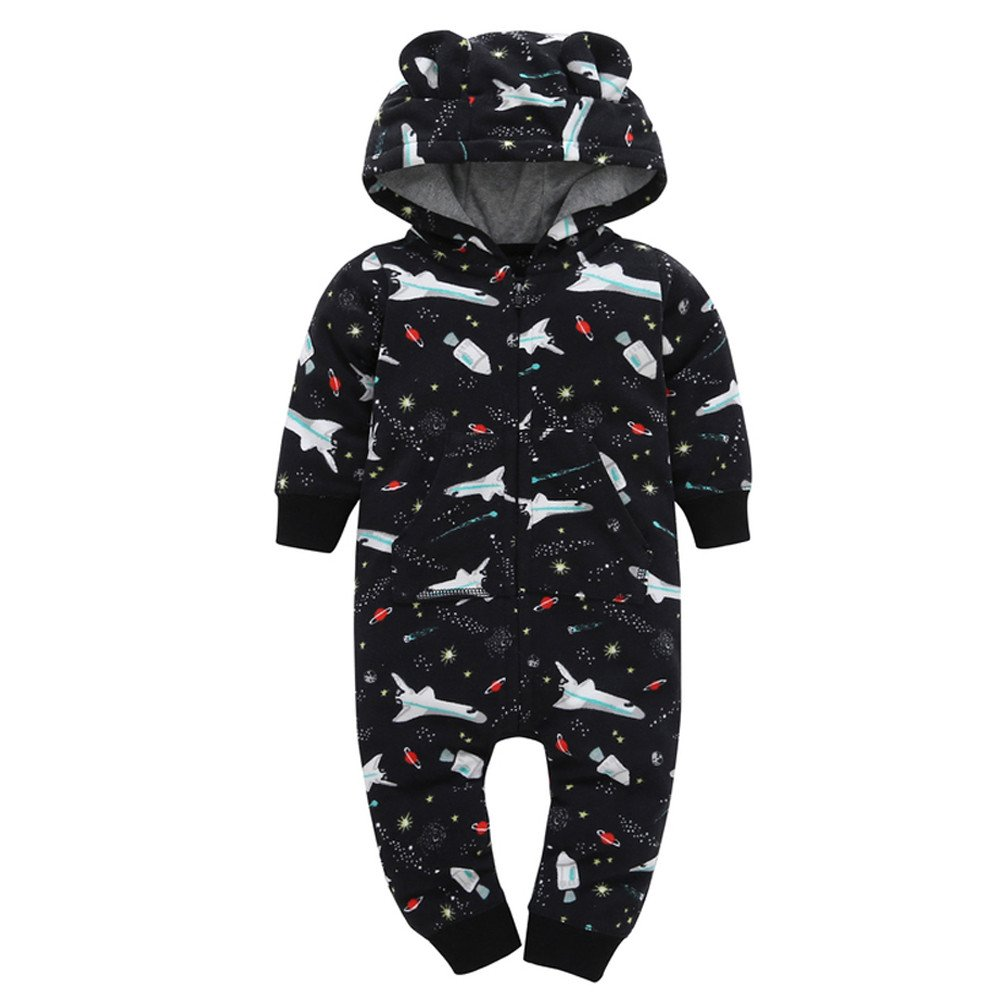 H.eternal Baby Girls' Boys'Hooded Fleece Zipper Sleep-and-Play Jumpsuits Long Sleeve Airplane Print Romper, Coveralls Thicker Cartoon Pajama with Pocket Footies Snowsuit Outfit