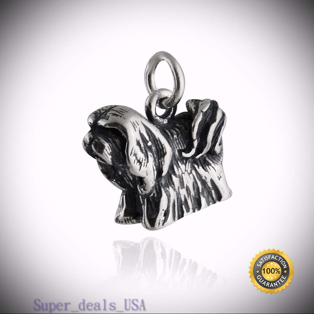 Lhasa Apso Dog Charm - 925 Sterling Silver - Pet Puppy Long Hair Small New DIY Handmade Ornament Crafts by Super_deals_USA