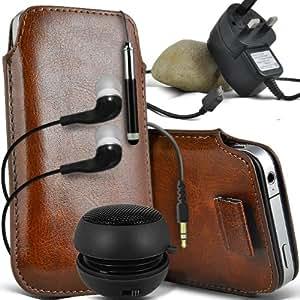ONX3 LG FireWeb Leather Slip cuerda del tirón de la PU de protección en la bolsa del lanzamiento rápido con Mini capacitivo Retractabletylus Pen, 3.5mm en auriculares del oído, mini altavoz recargable Cápsula, Micro USB CE aprobó 3 Pin Cargador (Brown)