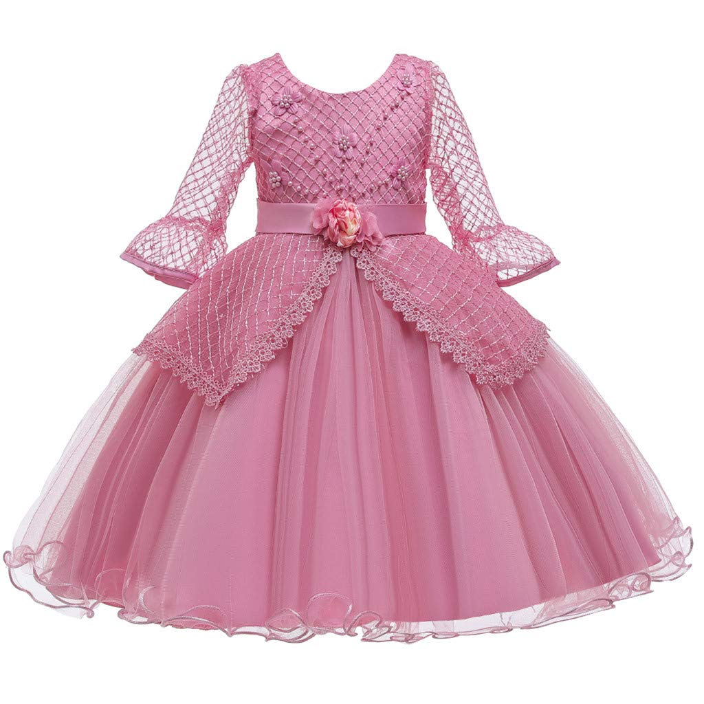 Kids Girls Vintage Dress Lace Long Sleeves Wedding Party Evening Formal Elegant Princess Tulle Dance Gown (Age:9-10 Years, Pink) by FDSD Baby Clothes