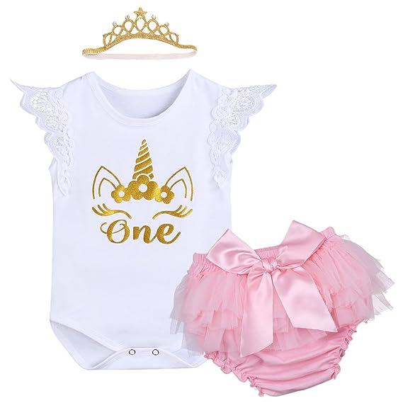 IWEMEK Bebé Niñas Primer Cumpleaños Princesa Unicornio Trajes de Fiesta 3pcs Conjunto de Mameluco + Bloomers de Tutú Rosa con Bowknot + Corona Diadema ...