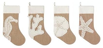 coastal burlap seahorse coral sand dollar starfish christmas stockings set of 4 - Coastal Christmas Stockings