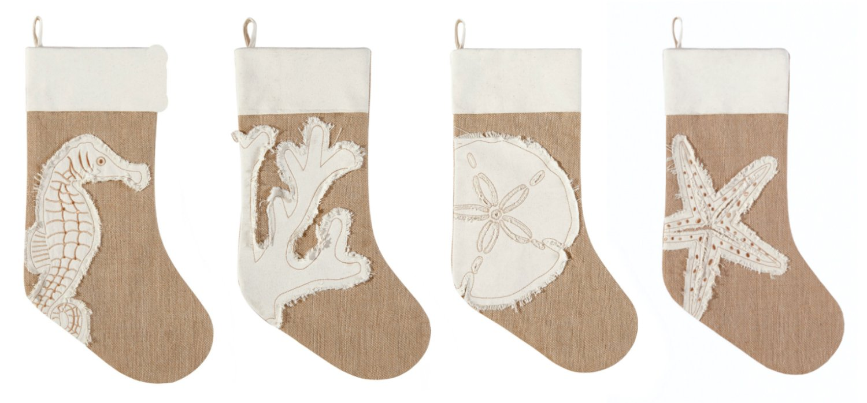 Coastal Burlap Seahorse Coral Sand Dollar Starfish Christmas Stockings Set of 4