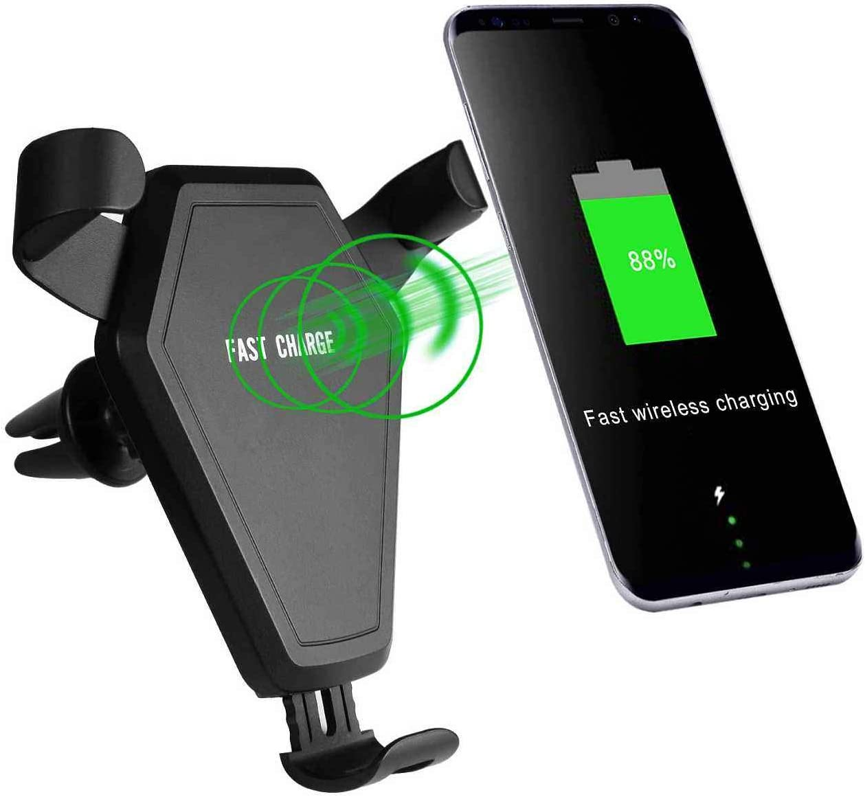 Huawei and More-Red Car Phone Mount Gravity Car Phone Stand Hands Free Cradle Compatible with iPhone 11 XS Max XR X 8 7 6 Plus Samsung Galaxy S10 S9 S8 S7 LG FashionSky Car Air Vent Clip Holder