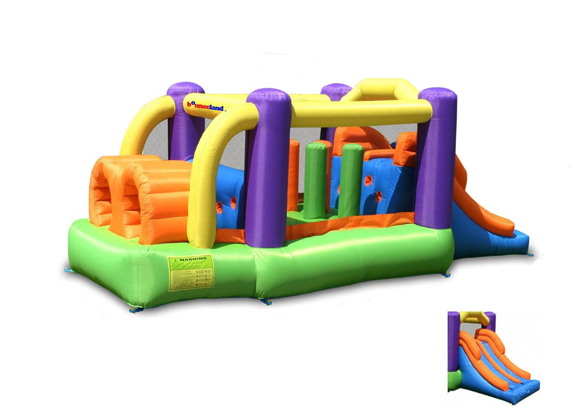 Bounceland Bounce House Inflatable Bouncer Obstacle Pro-Racer Combo Slides by Bounceland