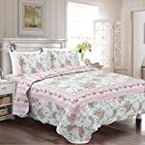 #7: Fancy Collection 3pc Bedspread Bed Cover Floral Off White Green Pink Reversible New # Lily (King)
