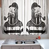 oFloral Kitchen Curtains Indie Walrus Animal Black White Kitchen Curtains Window Drapes 2 Panels Set for Kitchen Cafe 55 W X 39 L Inches