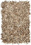 Safavieh Leather Shag Collection LSG601H Hand-Knotted Beige Decorative Area Rug (8' x 10')
