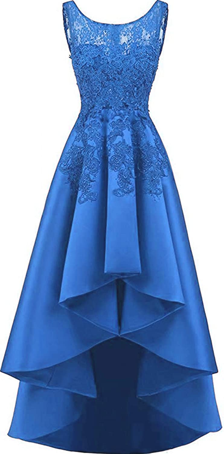 bluee Rmaytiked Womens Lace Beading Hilo Wedding Party Dress Satin Prom Dress 2019 Evening Formal Gowns