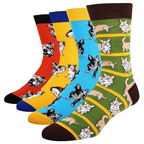 Stripe Cool Dog (Funny Dress Socks Animal Design Socks for Men Novelty Cool Office Socks Dog and Cat Crew Socks for Sports Party Gifts Box)