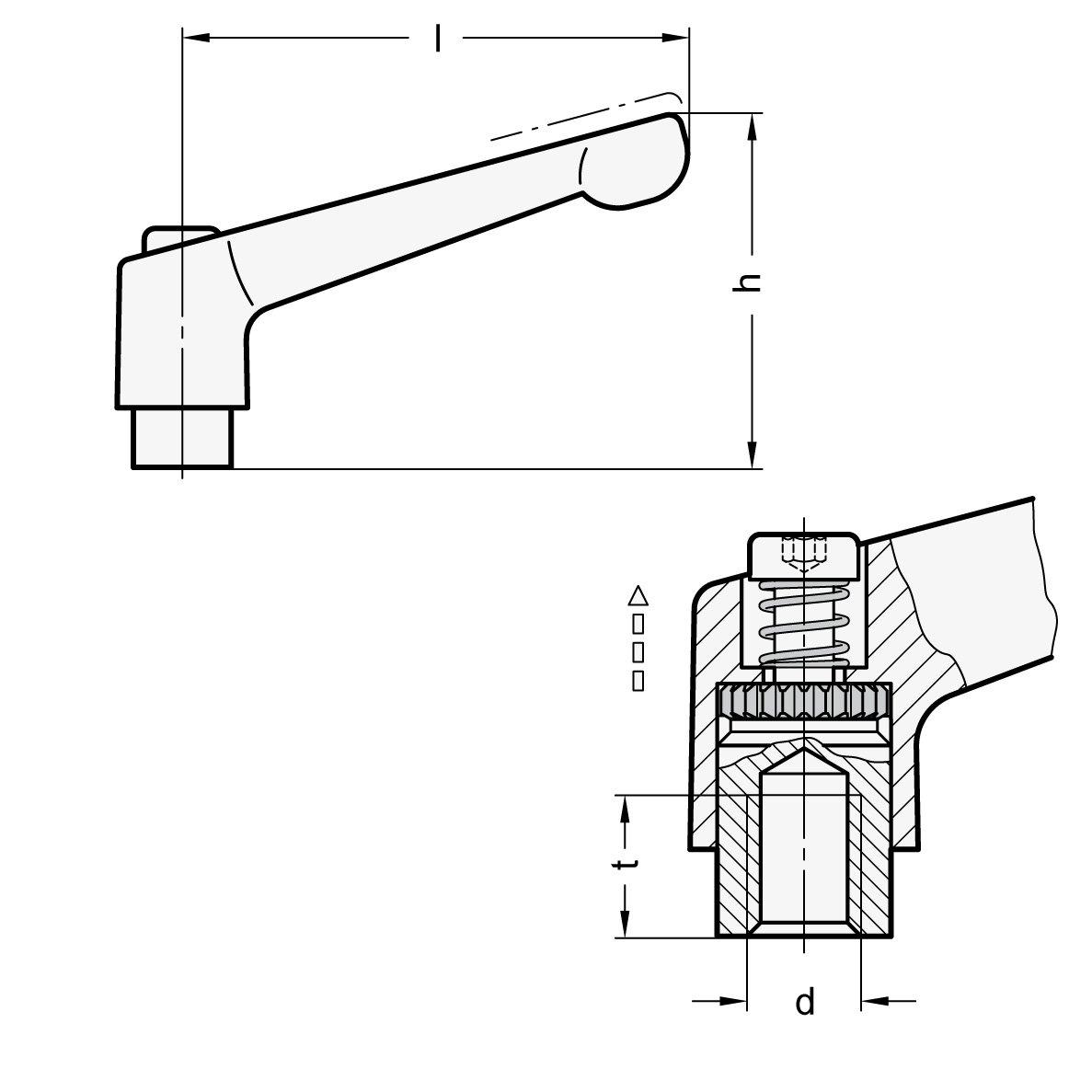 Strukturmatt Black Ganter Standard Elements Adjustable Clamping Lever with M12/Stainless Steel Threaded Sleeves GN 300.1/108/SW