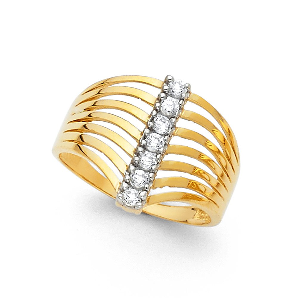 14k Yellow Gold CZ Semanario Ring Seven 7 Day Band Stackable Look Polished Finish Fancy Size 6.5 by ZenJewels