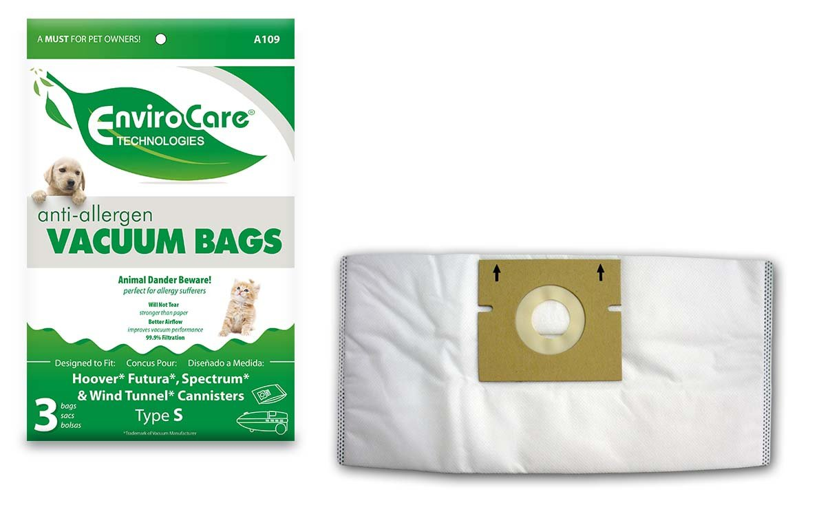 EnviroCare Replacement Allergen Vacuum Bags for Hoover WindTunnel, Futura, Spectrum, Constellation Type S 3 Pack