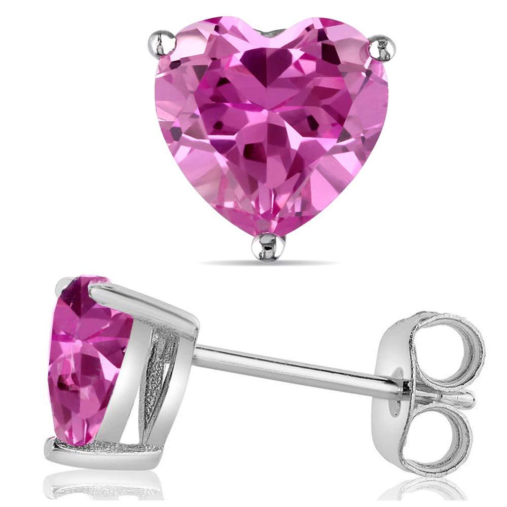 14k Gold Butterfly Backings /& Sterling Silver Basket Settings Heart Cubic Zirconia Simulated Pink Tourmaline Stud Earrings 2.00ctw