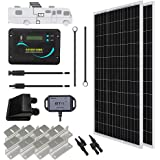 Renogy 200 Watts 12 Volts Monocrystalline Solar RV Kit Off-Grid Kit with Adventurer 30A PWM LCD Charge Controller+ Mounting B