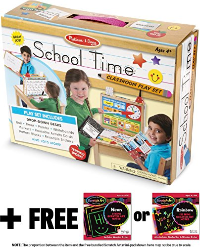 Melissa & Doug School Time Play Set +Free Scratch Art Mini-Pad Bundle -