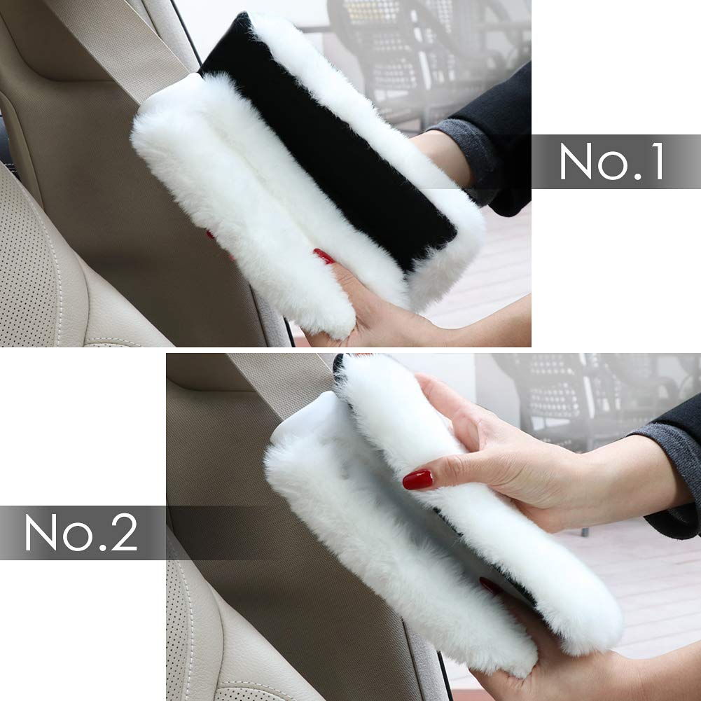 Gray 2-pack Backpack Pads SEG Direct Faux Fur Seat Belt Pads Shoulder Bag Pads for Adults and Children