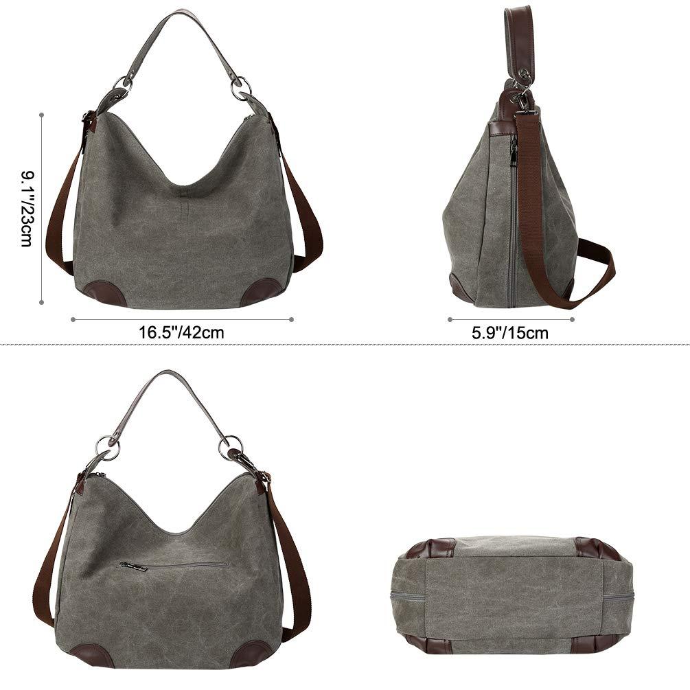 Vbiger Umhängetasche Damen Canvas Handtasche Schultertasche Hobo Bag