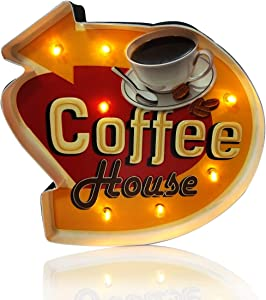 ACECAR Coffee Wall Decorations,Metal Vintage Handmade Marquee Embossed Tin Decor,Industrial Style Wall Hanging Sign,for Apartment,Home,Bar or Cafe Wall Decoration–Battery Operated (Coffee house)