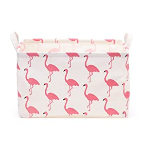 Flamingo Toy Storage Bin Basket Collapsible Box Toy Organizer for Nursery, Kid's Toy & Laundry, Gift Baskets (Red)