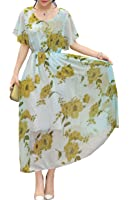 Olrain Womens Vintage Floral Printed Casual Swing Tea Dress