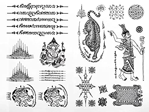 1 Black Thai Tradition Ancient Temporary Sticker Body Tattoos Tiger, 5 Rows, 3 Heads Elephant, Turtle Set of 2 Sheet for girls, women, kids, and men Size 6.2