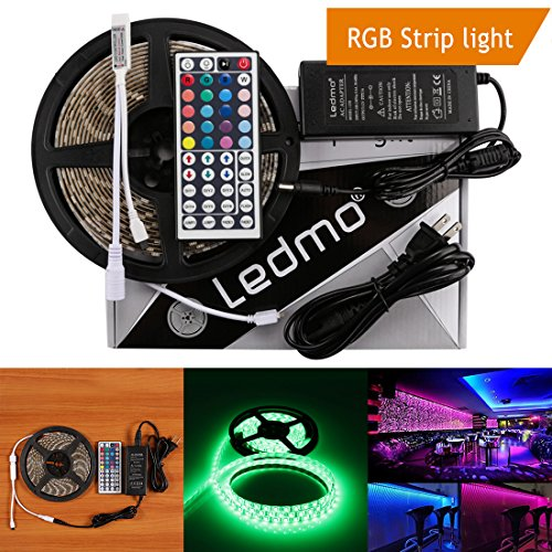 LEDMO 16.4Ft Waterproof Flexible Strip 300 LEDs Color Changing RGB SMD5050 LED Light Strip Kit RGB 5M with 44Keys IR Remote Controller and 12V 5A Power Supply