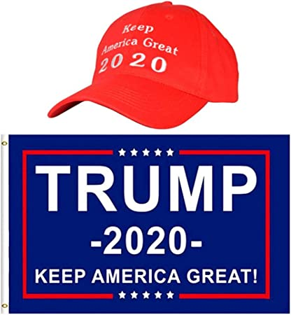 """2Pc 3 x 5 Ft Red Trump 2020 Flag /""""Keep America Great/""""  Flags"""