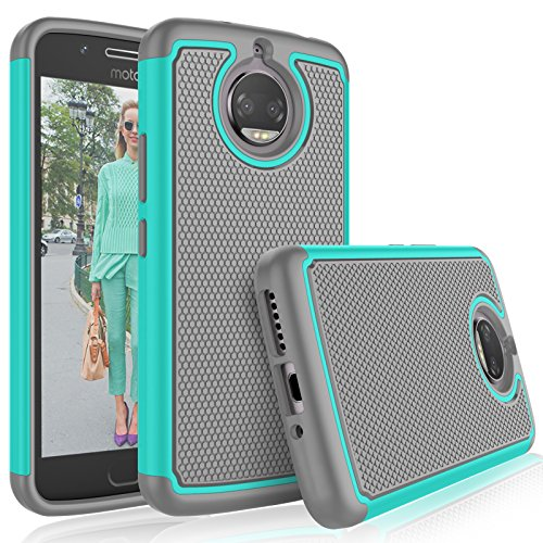Moto G5S Plus Case, Motorola G5S Plus Cute Case, Tekcoo [Tmajor] Shock Absorbing [Turquoise] Hybrid Combo Rubber Silicone & Plastic Scratch Resistant Bumper Grip Sturdy Hard Protective Cases Cover